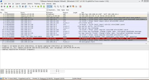 Wireshark session showing TCP 3-way handshake and TLS session establishment